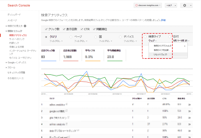 Google Search Console画面